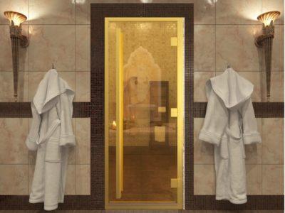 Дверь для хамама золото